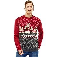 Jersey de Navidad para Mujer, Suéter Feo de Navidad Divertido y Novedoso con Renos de Santa, Sudadera Suave de Fleeces…