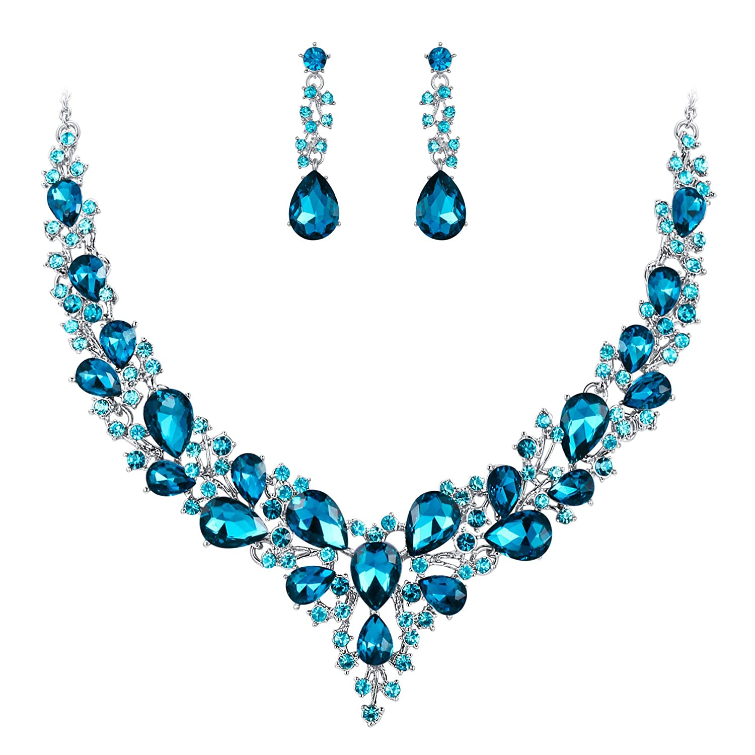 Statement Pendant Necklace Round Turquoise Dangle Earrings Bridal Jewelry Sets