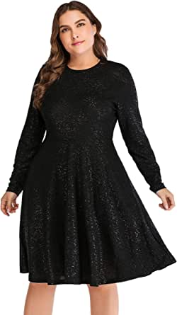 OEUVRE Women's Star Tee Shirt Tunic Stretch Dress Plus Size Metallic Star Print Jersey