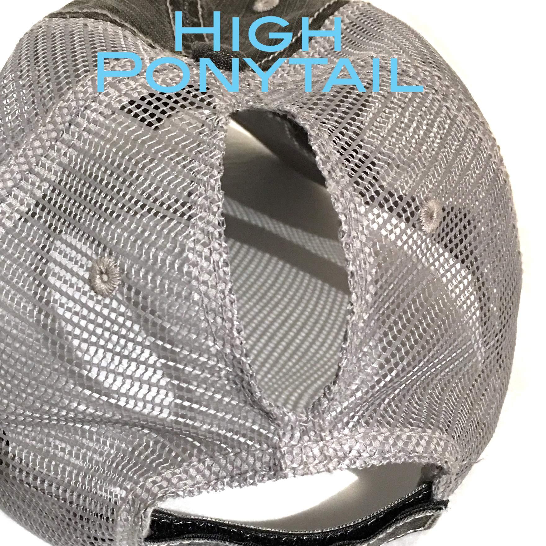 Disney High Ponytail Hat Bedazzled Mesh Baseball Cap Swarovski Crystal Bling Gray by Elivata (Image #2)