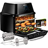 Air Fryer Oven 17-Quart, OMMO 1800W Countertop Air Fryer Toaster Oven Combo with Rotisserie & Dehydrator, Digital Controls, 8