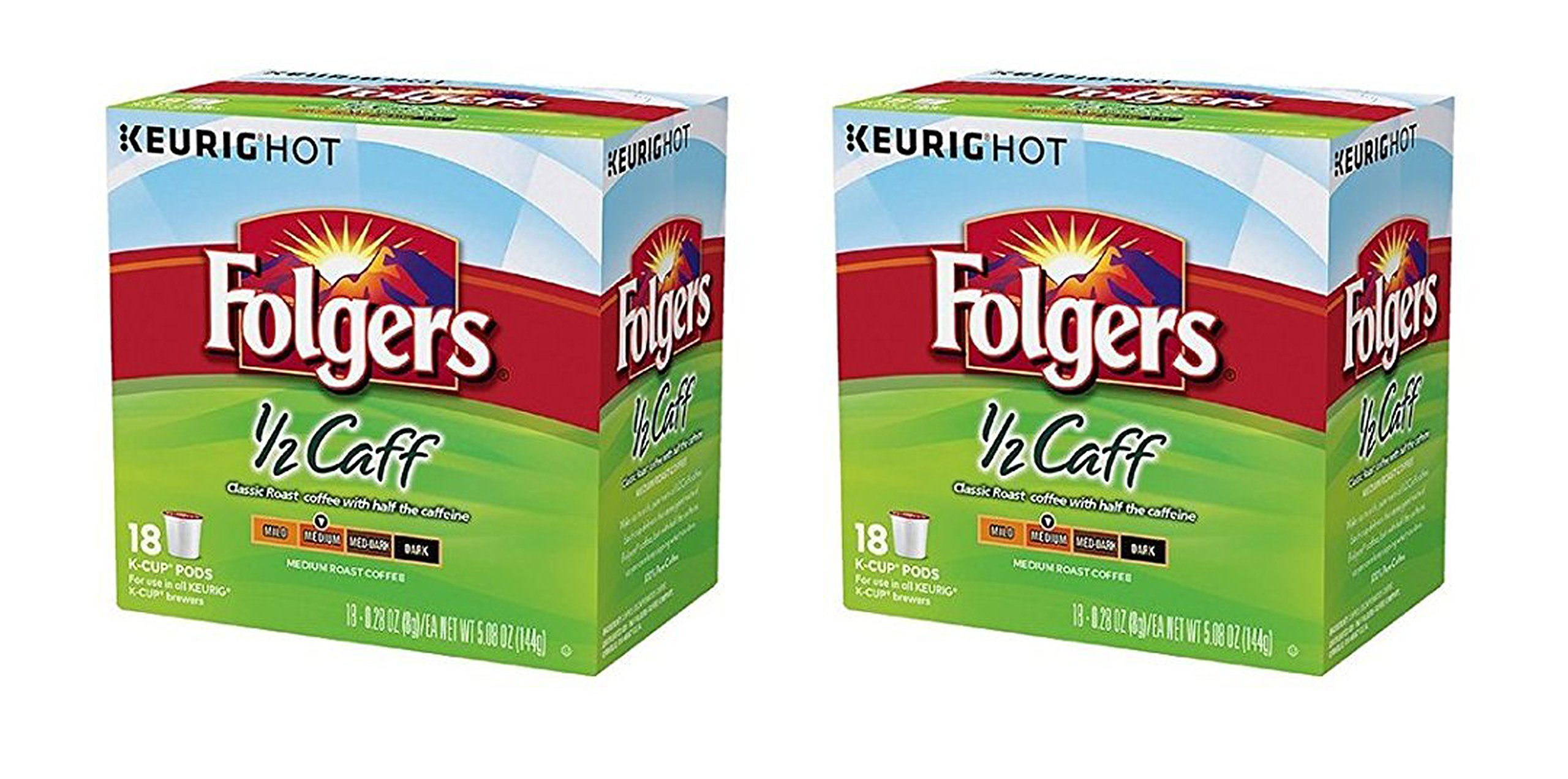 36 Count - Folgers Half Caff Coffee K-Cups for Keurig K Cup Brewers and 2.0 Brewers by Folgers (Image #1)