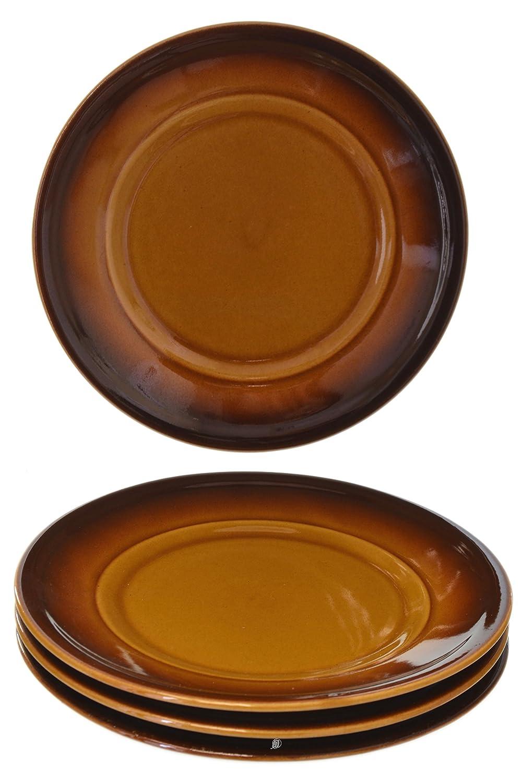 Set of 12 Vintage 70's Polish-Ceramic Brown Salad/Appetizer/Dessert Plates American Chateau