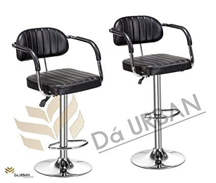 Da URBAN Costa Height Adjustable Bar Stool/Chair (Black) (Set of 2) (ISO and BIFMA Certified)
