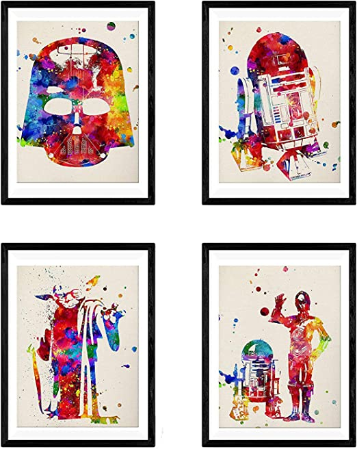 A4 to A0 Framed Star Wars Han Solo Watercolour Nursery Decor Art Poster Print