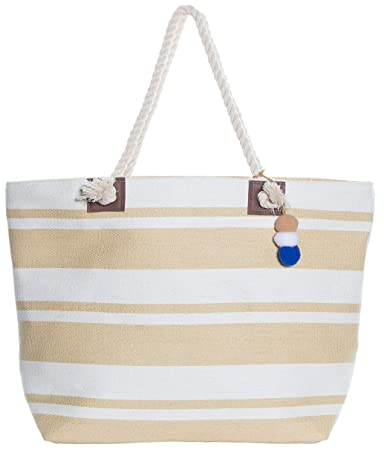 2800d08f5 Beach Bag By Pier 17 - Beach Tote Bag withTop Zipper Closure, Cotton Rope  Handles