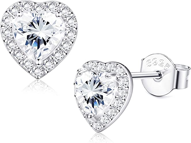 NEW 925 Sterling Silver 8mm Heart Gem Stone Stud Earrings *See Special Offer*