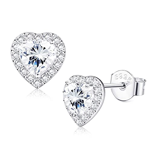Jewelry & Accessories Fashion Big Circle Heart Earrings 100% Real 925 Sterling Silver Jewelry Woman High Quality Solid Silver Heart-shaped Earrings