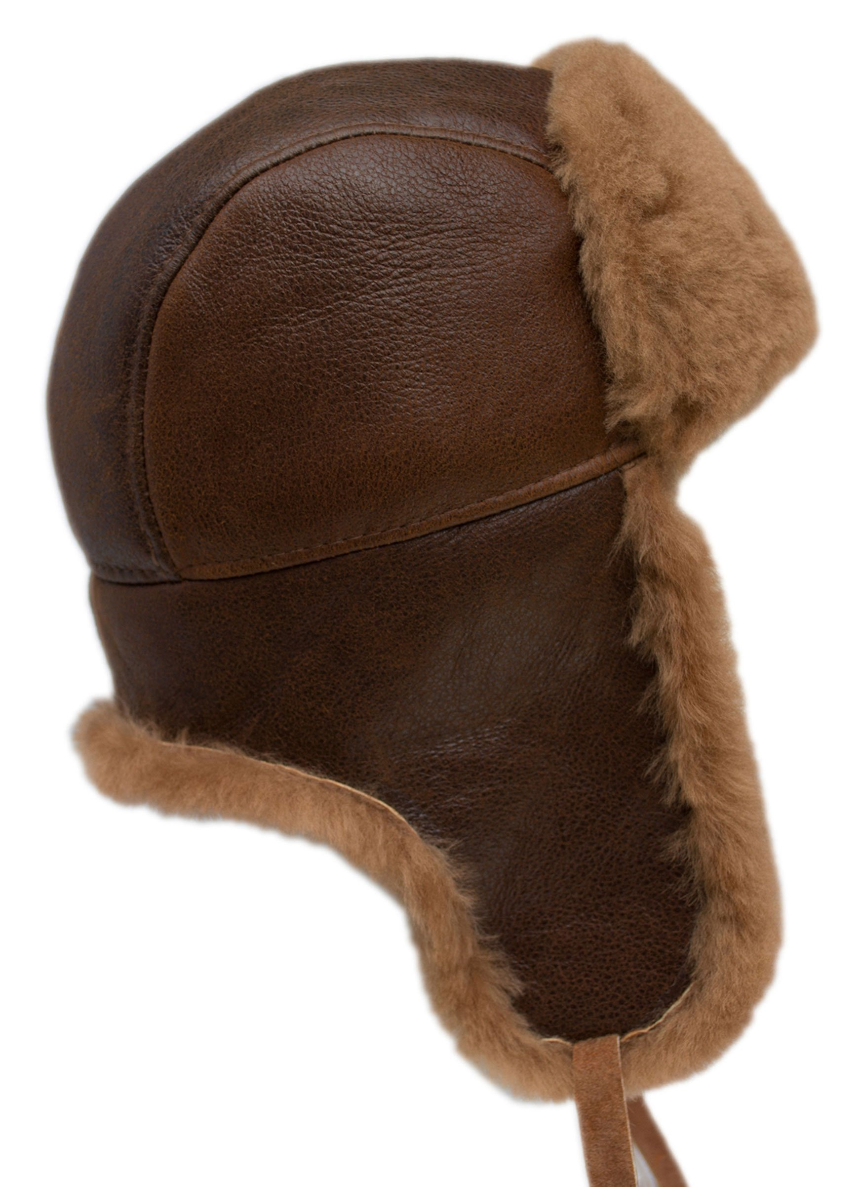 buyfurhat Women's Trapper Ushanka Aviator Russian Sheepskin Hat (XL, Peach Brown)