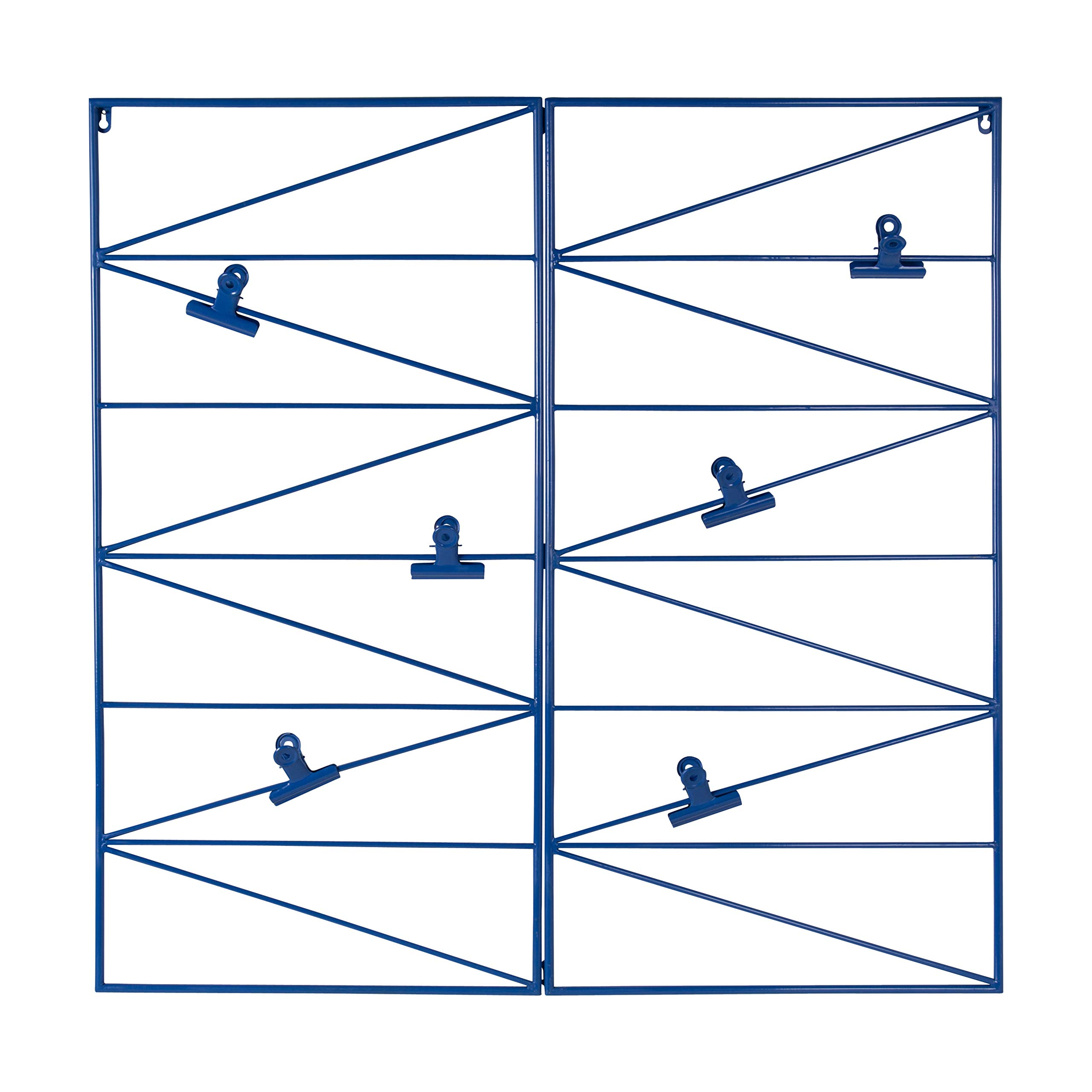 Kate and Laurel Whitt Wire and Clips Metal Geometric Wall Organizer, Blue by Kate and Laurel
