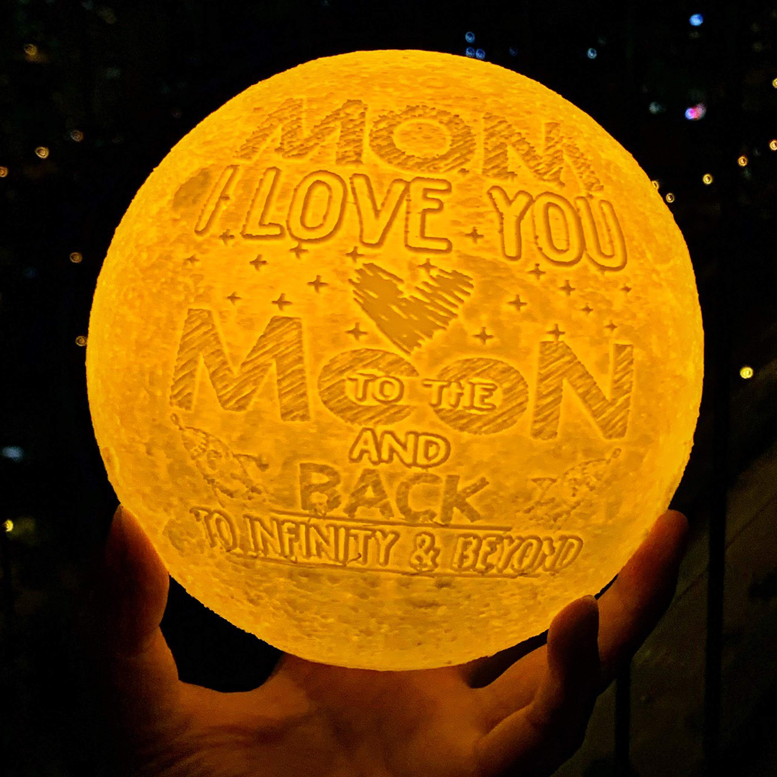 VTH Global Mom I Love You to The Moon and Back 3D Printed Moon Lamp Night Lights Birthday Gifts for Mom Mommy Mother from Daughter Son Kids Husband