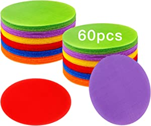 IKAYAS 60 Pcs 5 Inch Carpet Spots Floor Sit Markers for Classroom, Carpet Circles Dots Standing Spots Carpet Standing Dots for Kids, 6 Colors