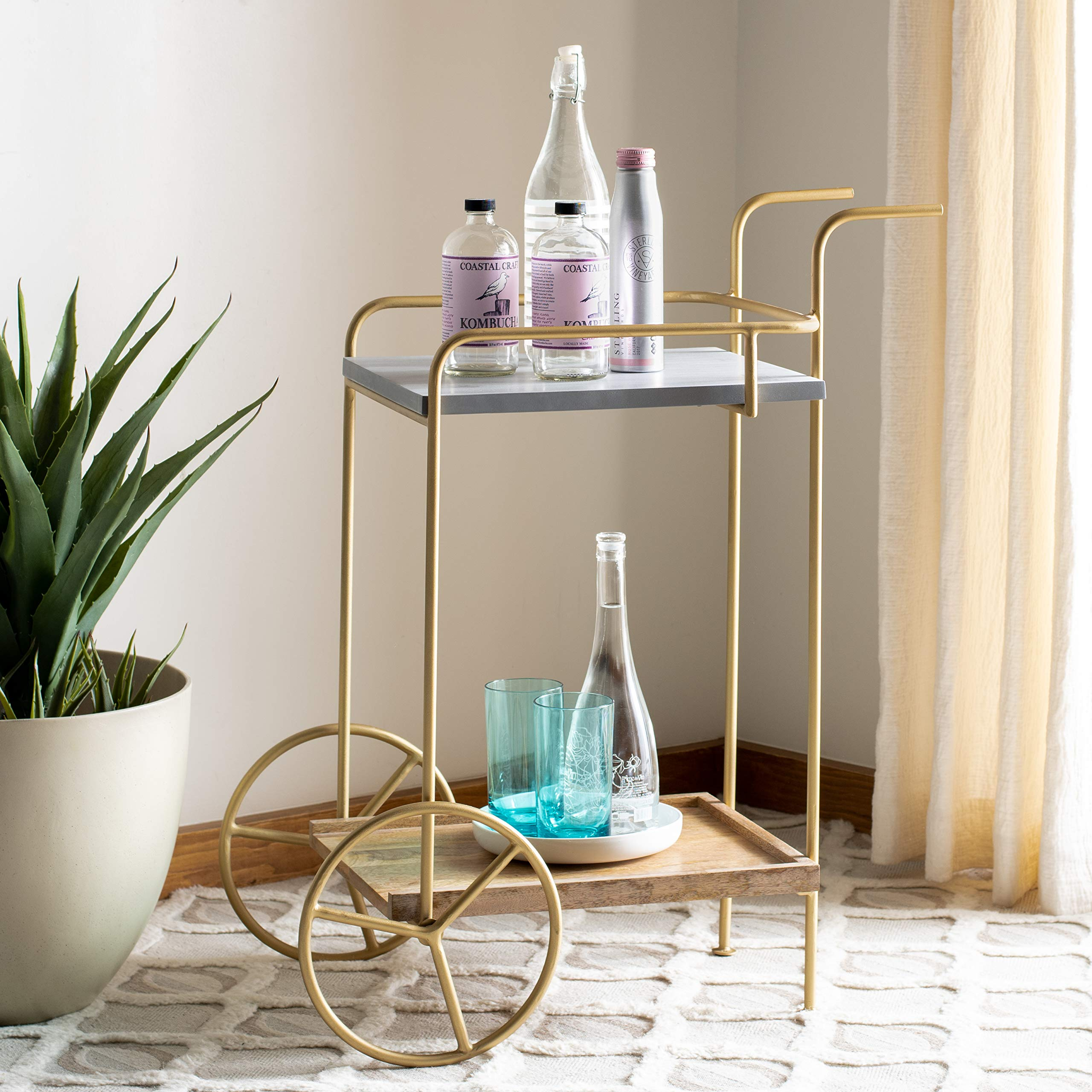 Safavieh Home Collection Harper 2-tier Natural Wheels Bar Cart by Safavieh