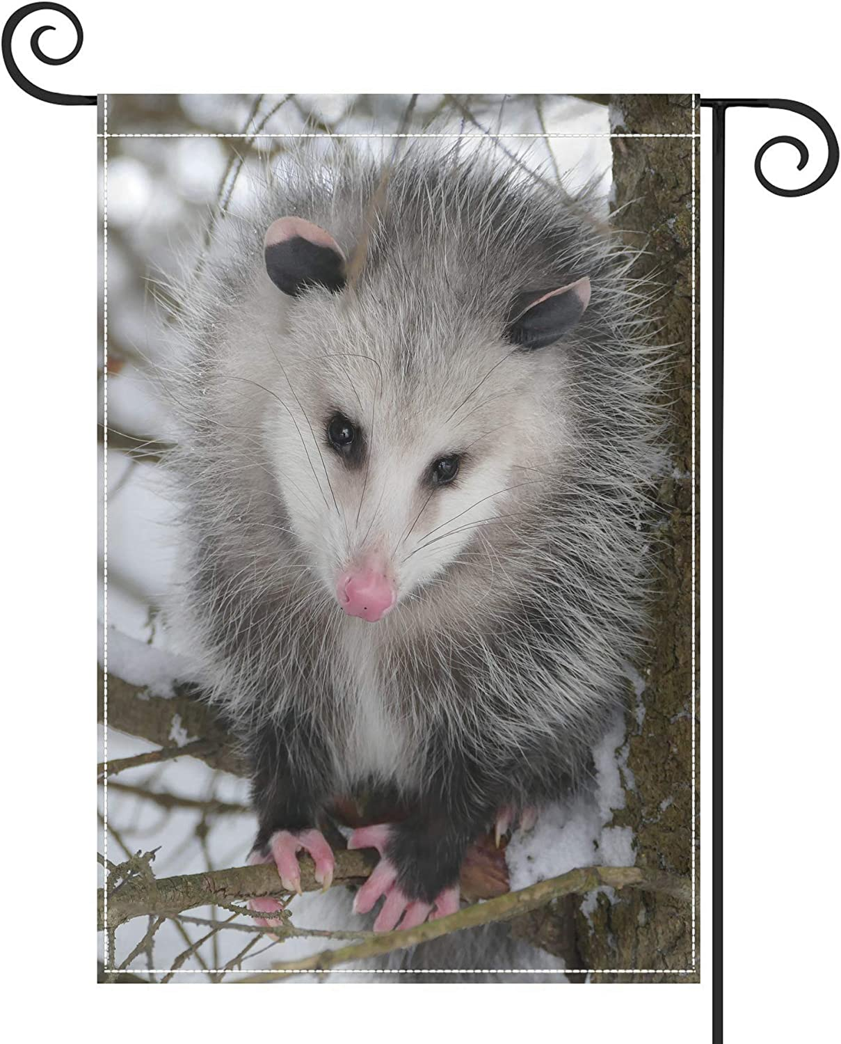 """PRUNUS Opossum in Snow Ice Garden Flag, Vertical Double Sided Premium Material Holiday Weather Resistant Decorative Lawn Flags Outdoor Decor 12.5"""" x 18"""" Black"""