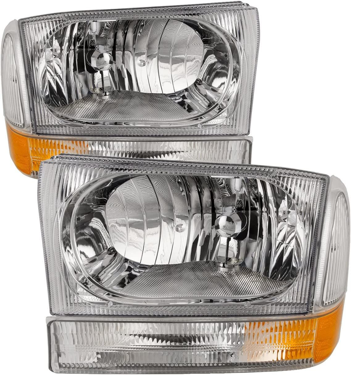 HEADLIGHTSDEPOT Chrome Halogen Headlights 4-Piece Set with Corners Clear Fluted Stock Style Compatible with Ford Excursion F-250 Super Duty F-350 F-450 F-550 Includes Left and Right Side Headlamps