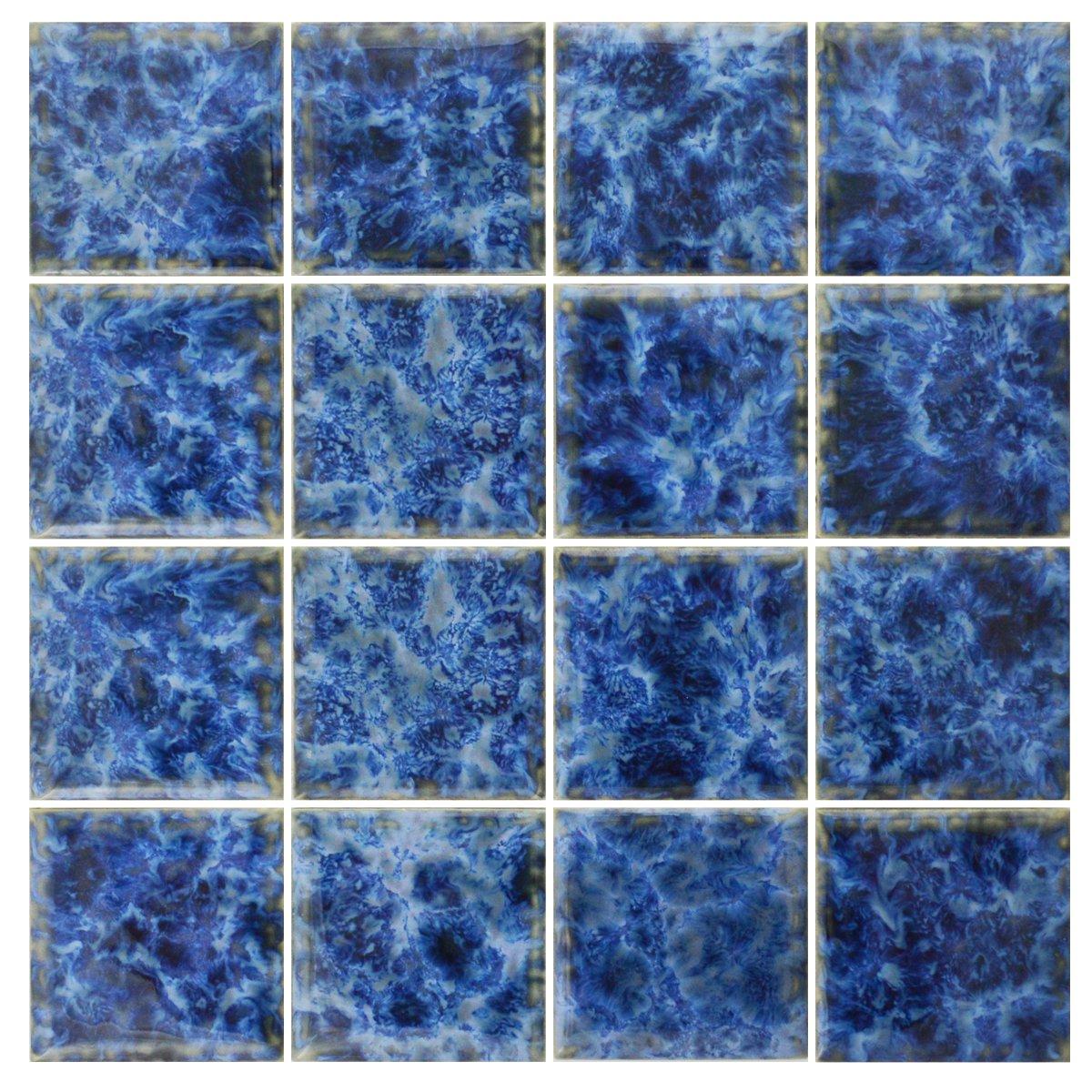Amazon.com: 5 SF 3x3 Sea Blue Tile for Wall Spa Swimming Pool Shower ...