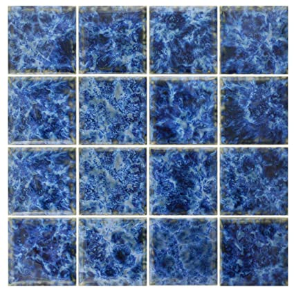 Amazon.com: 5 SF 3x3 Sea Blue Tile for Wall Spa Swimming Pool Shower ...