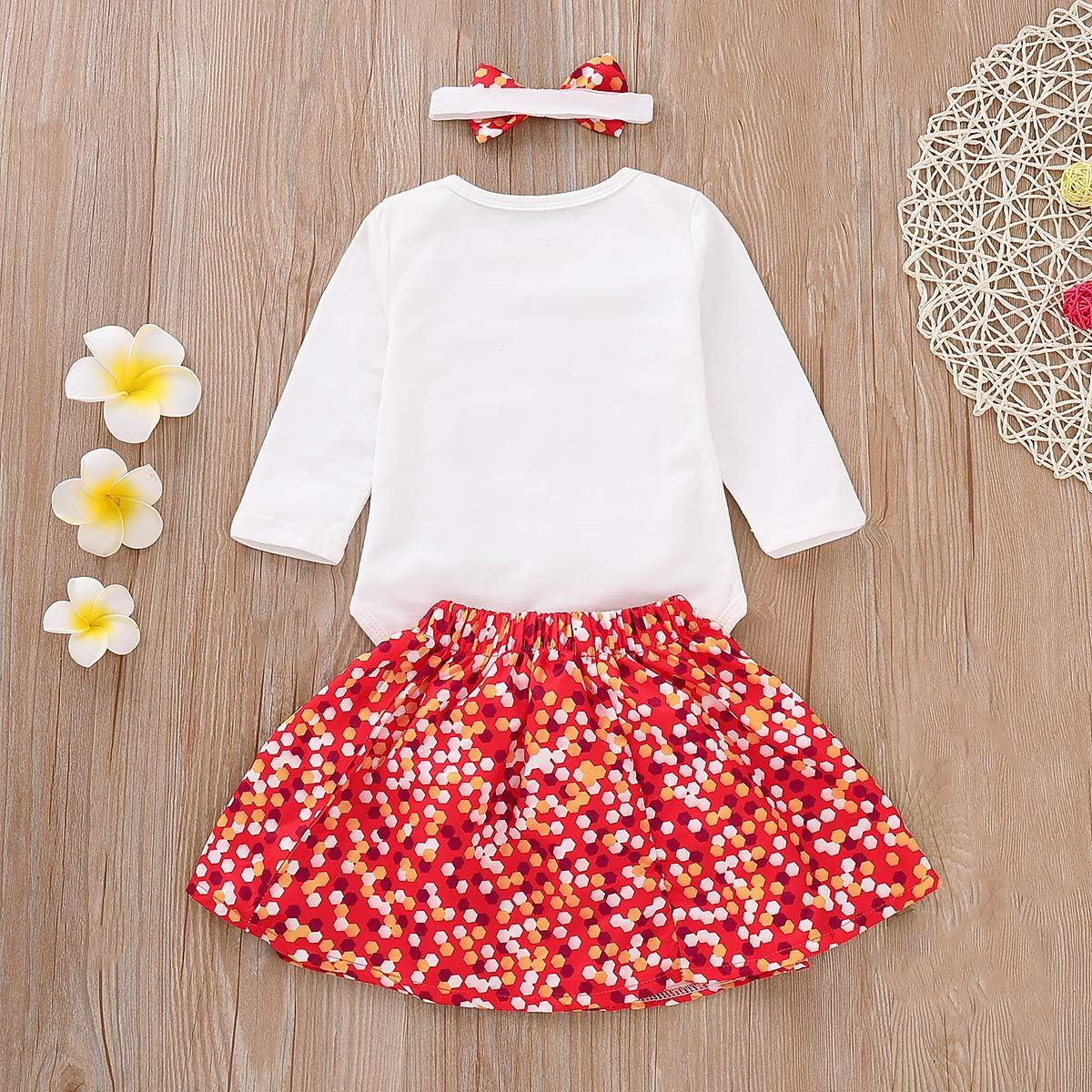 Newborn Baby Girls My First Christmas Long Sleeve Romper Polka Dot Skirt Outfits