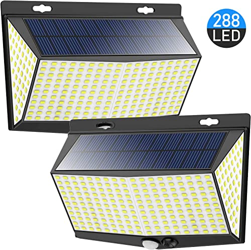 288 LED Solar Powered Motion Sensor Lights Outdoor with 3 Lighting Modes, 270 Wide Angle Lighting, IP65 Waterproof. Bright Wireless Security Flood Lights for Outside Fence Wall Yard 6500K, 2 Pack
