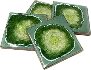 product image for Dock 6 Pottery Geode Fused Glass Coasters, Jungle, Set of 4