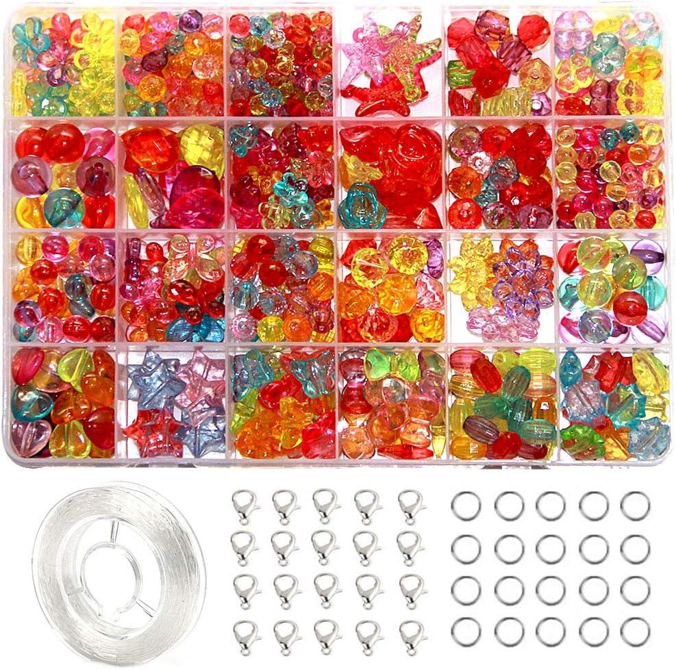 EWPARTSES 24 Clases Abalorios Perlas de Resina Acrílica (Transparente)