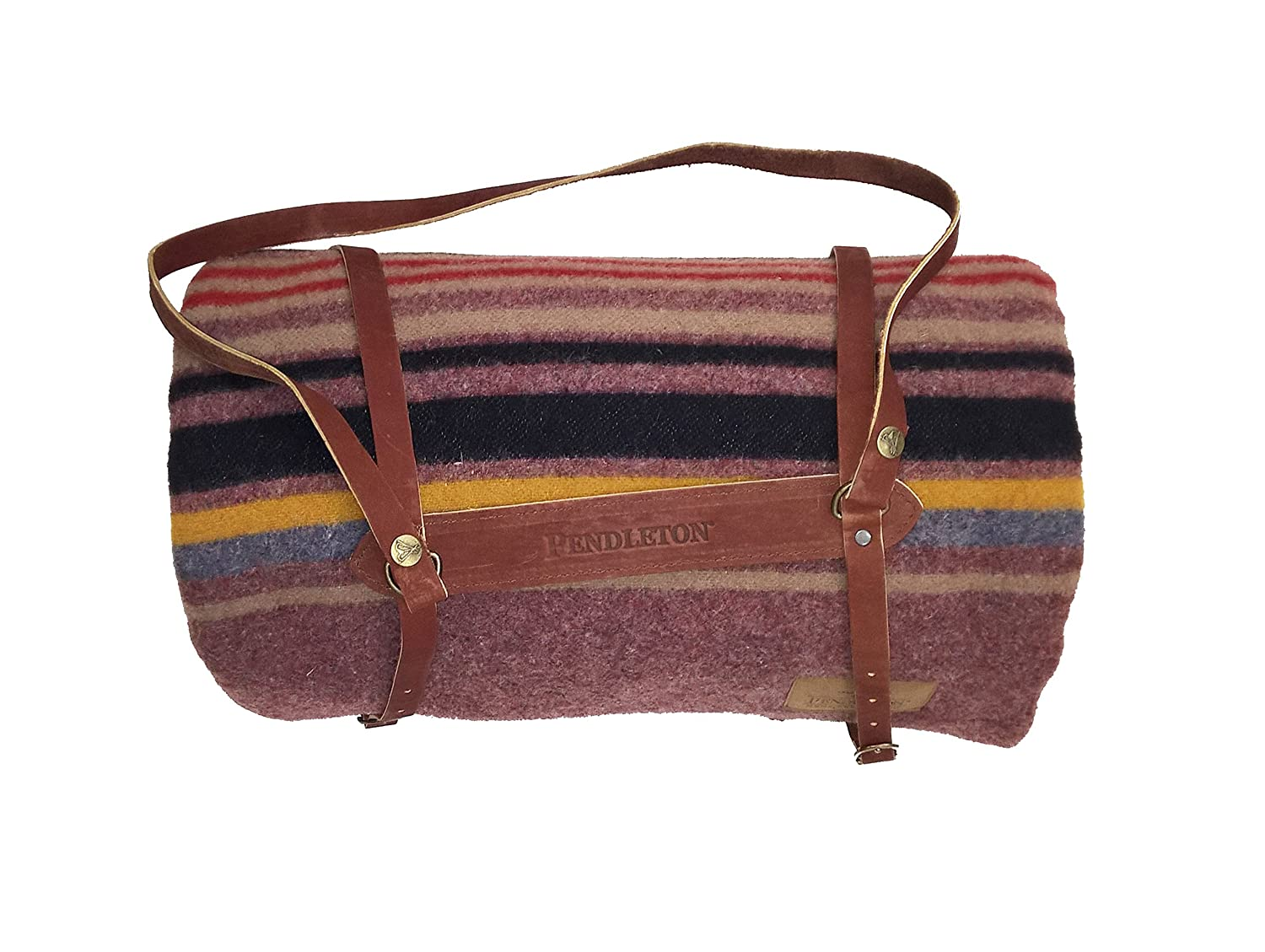 Pendleton Twin Wool Camp Blanket with Leather Carrier - Red Mountain Pendleton Woolen Mills