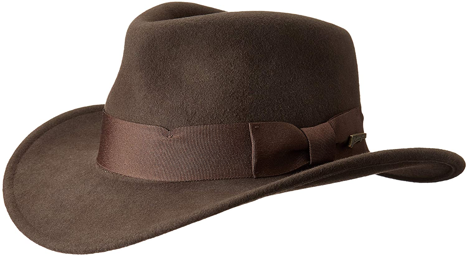 Dorfman Pacific Indiana Jones Mens Crushable Wool Felt Fedora Brown Medium