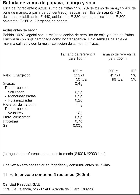 Vivesoy Zumo de Soja, Papaya y Mango - 1000 ml - [Pack de 8]: Amazon.es: Alimentación y bebidas