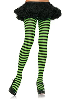 Lime Green And Black Striped Tights