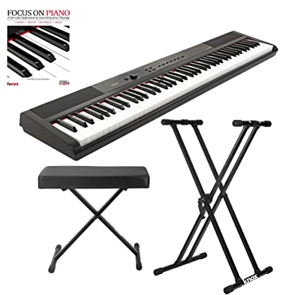 Artesia 88 Key 8 Portable Piano (Black) With Knox Piano Bench, Stand And
