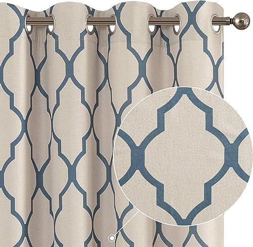 Moroccan Tile Print Linen Textured Panels