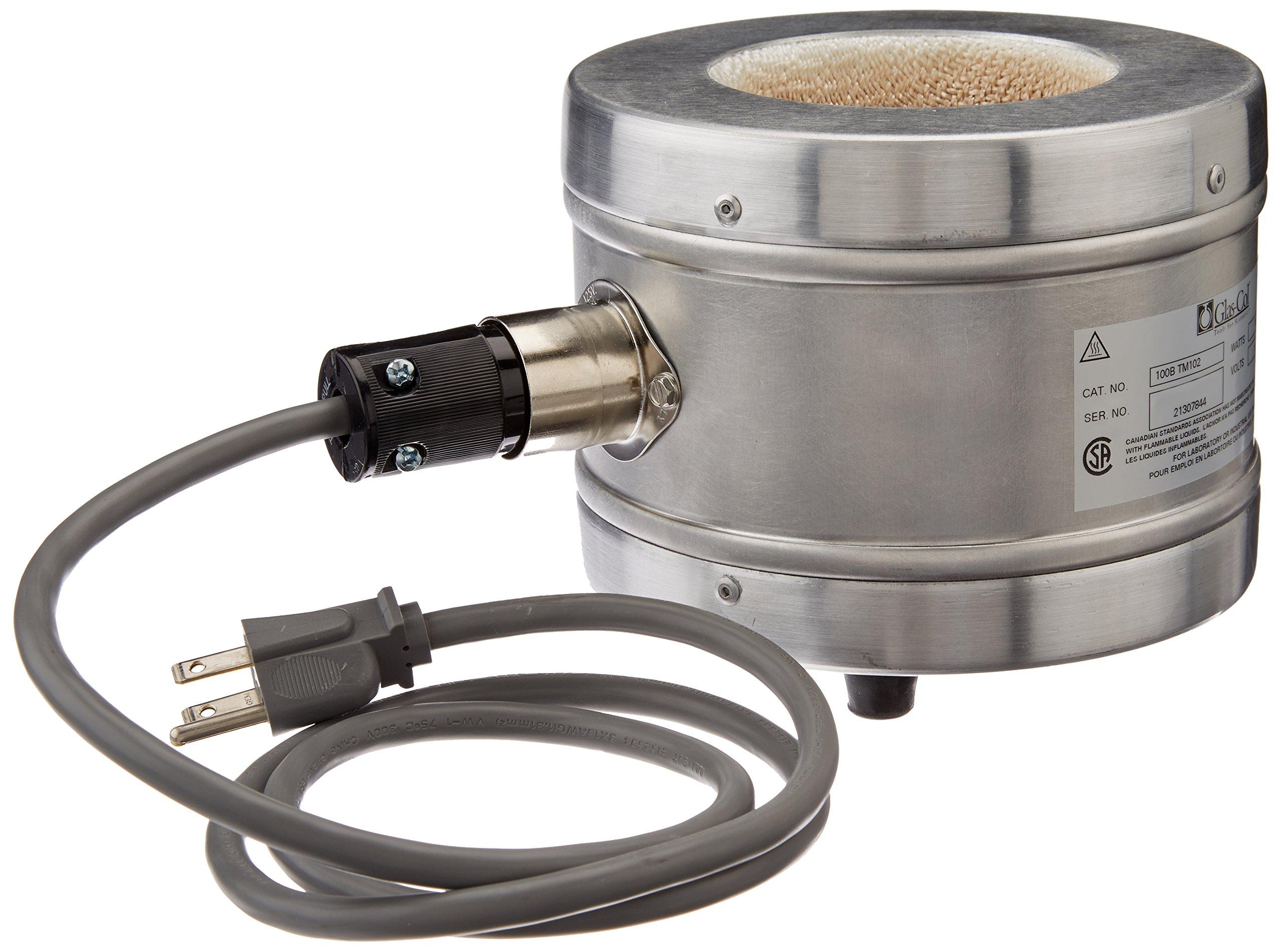 Glas-Col 100B TM102 Series TM Aluminum Housed Mantle for Spherical Flask, 250ml Flask Capacity, 115V