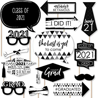product image for Big Dot of Happiness Black and White Grad - Best is Yet to Come - Black and White 2021 Graduation Party Photo Booth Props Kit - 20 Count