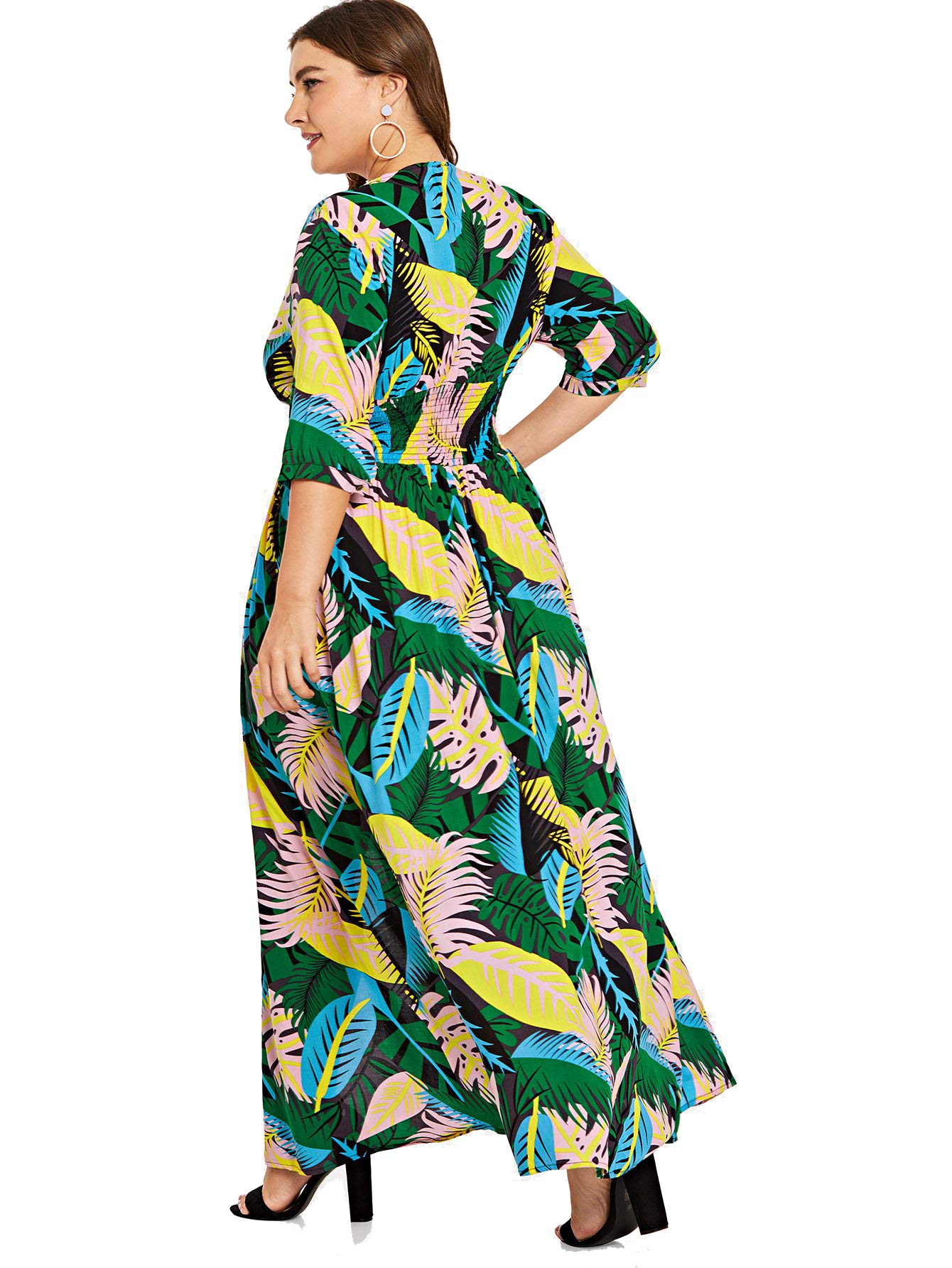 Milumia-Womens-Button-Up-Split-Floral-Print-Flowy-Party-Maxi-Dress