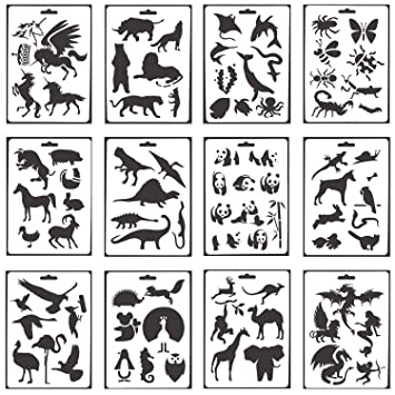 Amazon 12 Pack Animal Stencils Plastic Drawing Painting
