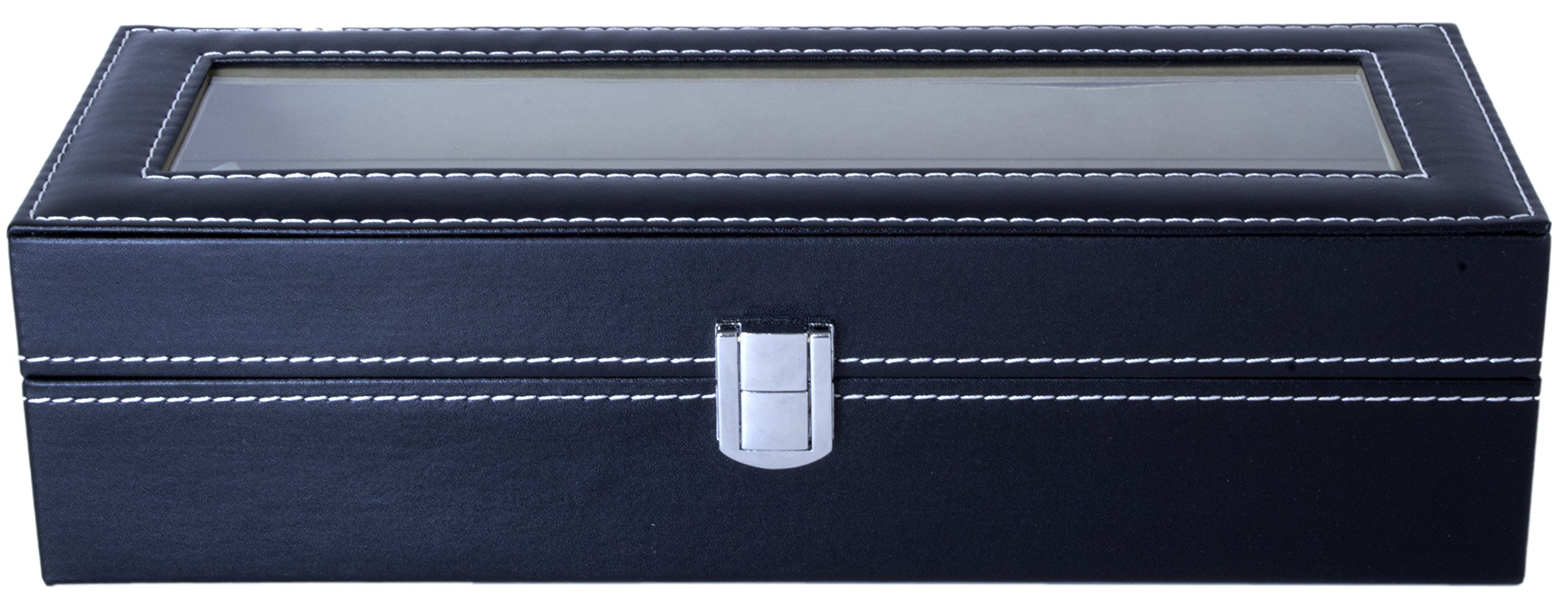 Royal Brands Square Mens Watch Display Box with Glass Top Jewelry Case Organizer (6 Slots)