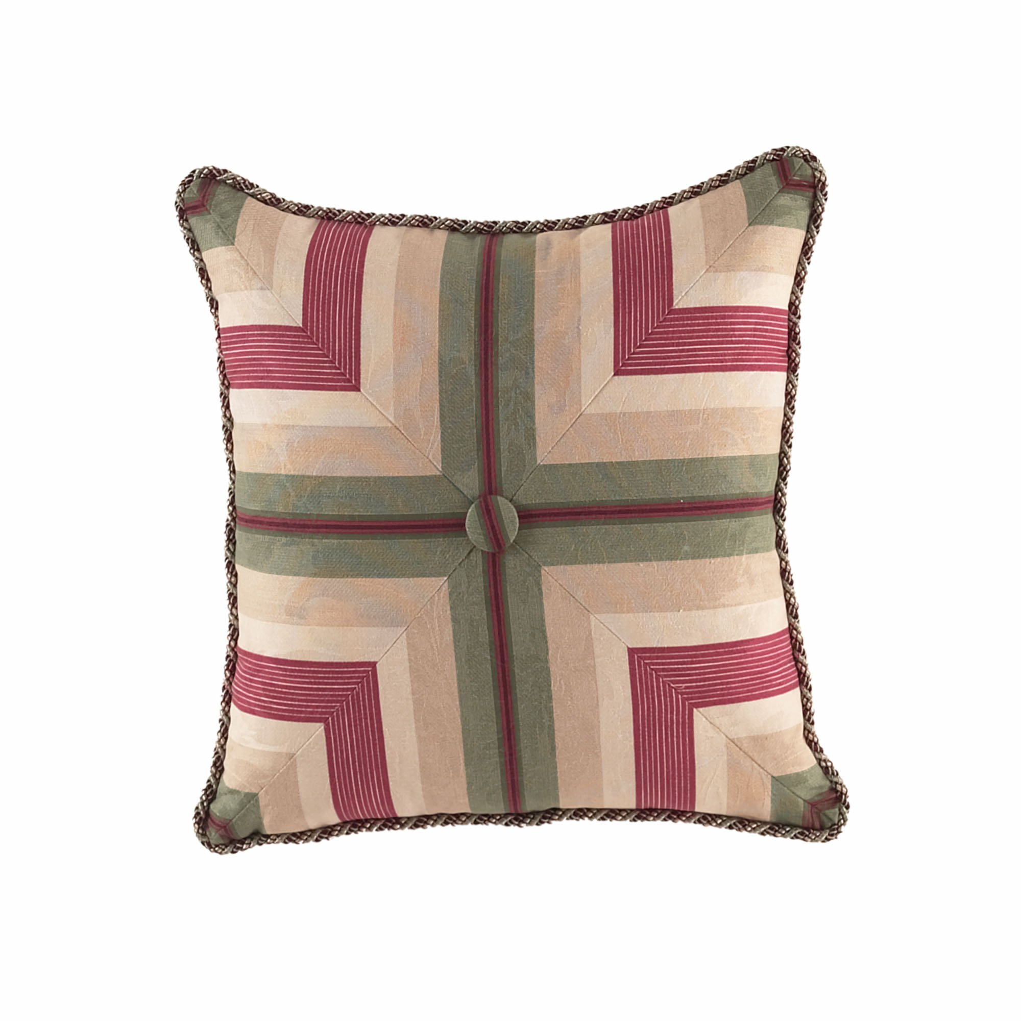 WAVERLY 13157020X020MUL Laurel Springs 20-Inch by 20-Inch Button Tufted Accent Pillow, Multi