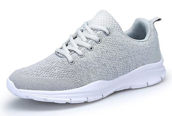 DAFENP Unisex Uomo Donna Scarpe da Ginnastica Corsa Sportive Fitness Running Sneakers Basse Interior Casual all'Aperto,XZ747-M-gray-EU38