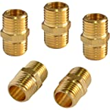 PowRyte Basic Solid Brass Fiting, Male Coupling Set - 1/4-Inch NPT x 1/4-Inch NPT, 5-Pack