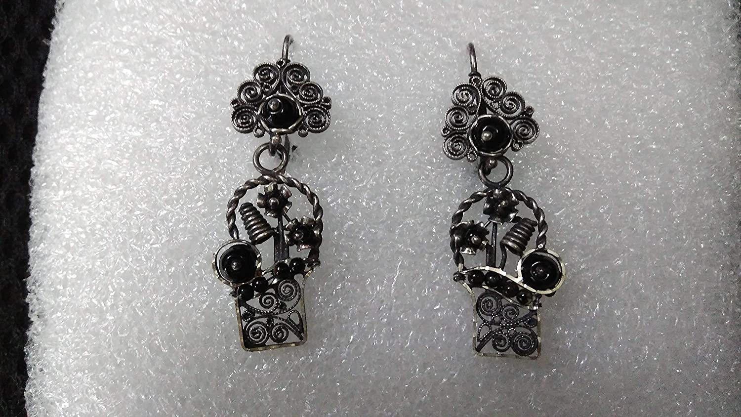 6048595215db7 Amazon.com  Filigree Earrings Rusted Silver Baskets With Jet  Handmade
