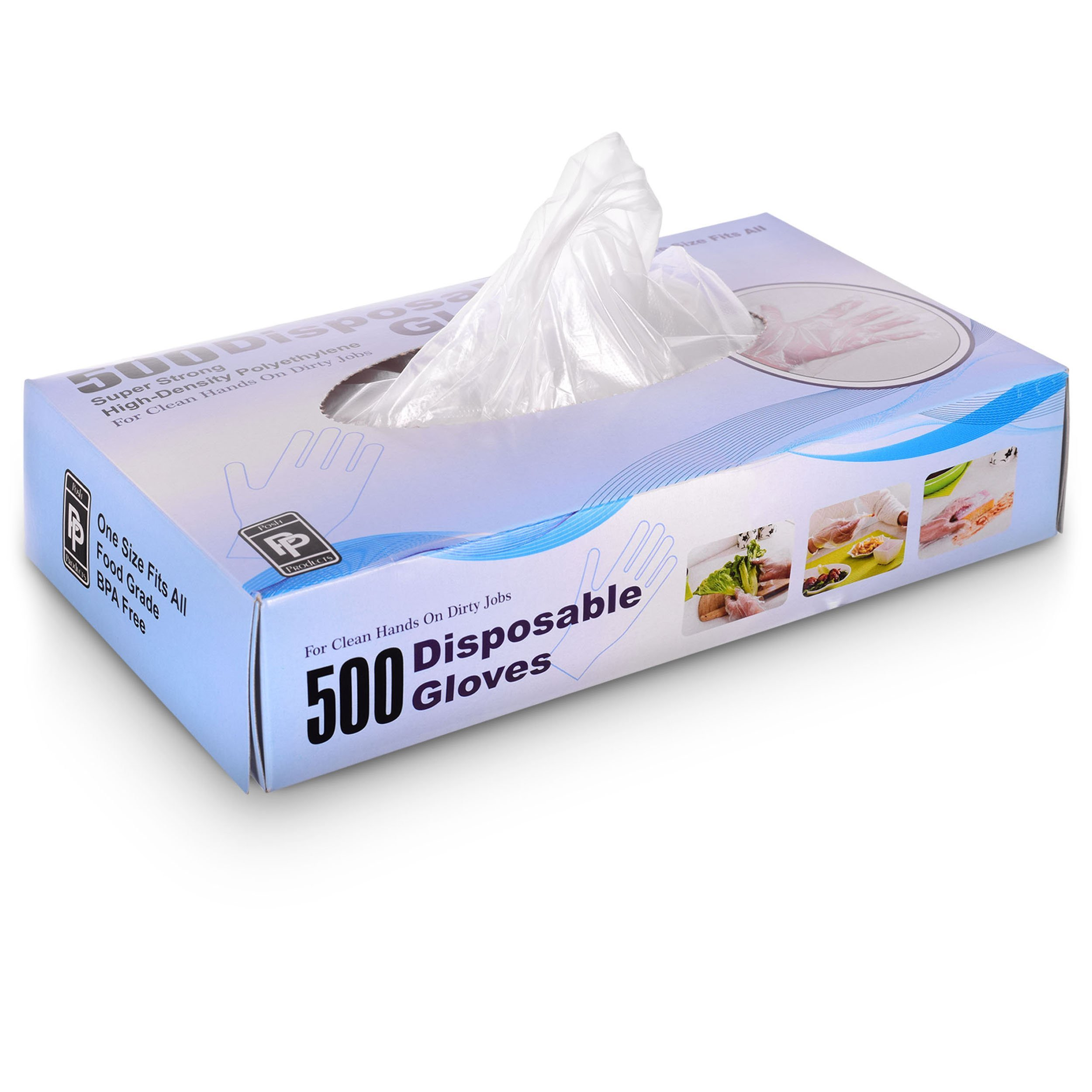 Disposable Poly Gloves, One Size Fits All, 500 ct, Great for Food Preparation, Latex Free, BPA Free Vinyl Gloves