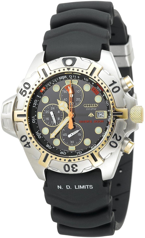 Amazon.com  Citizen Men s BJ2004-08E Eco-Drive Aqualand Two-Tone Black  Rubber Strap Dive Watch  Citizen  Watches 315e9d3c765