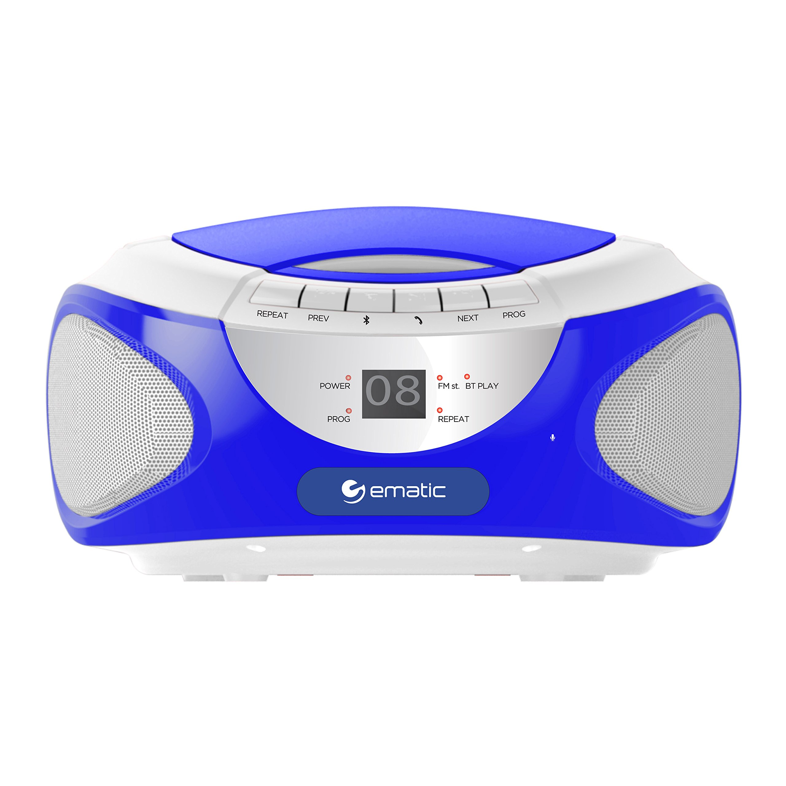 Ematic CD Boom Box with Bluetooth Audio and Speakerphone, Blue