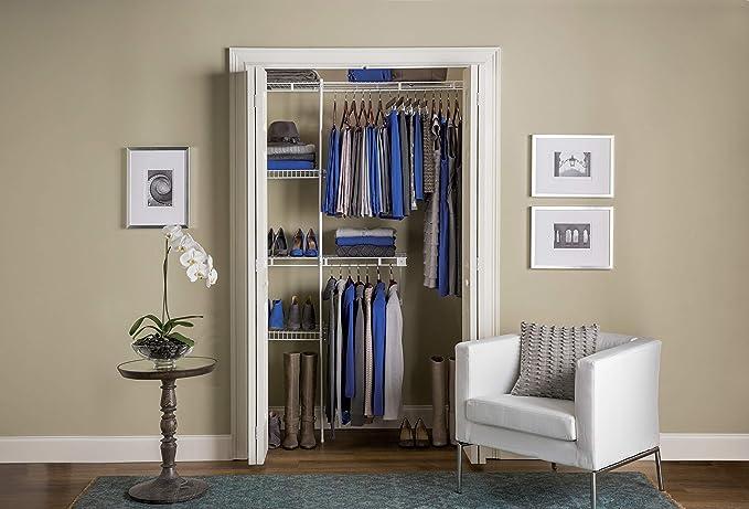 Amazon Com Rubbermaid Wardrobe Organizer 3 5 Closet Shelves Rods Closet Organizer System White Home Kitchen