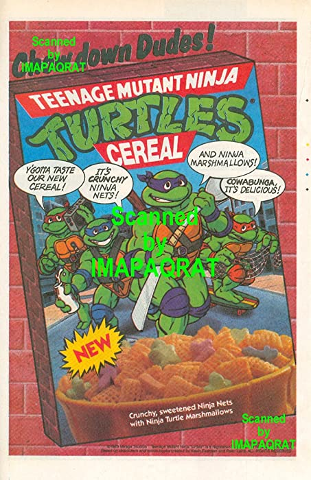 TMNT Teenage Mutant Ninja Turtles Cereal: Ninja Marshmallows: Chow Down Dudes!: Great Original 1989 Print Ad