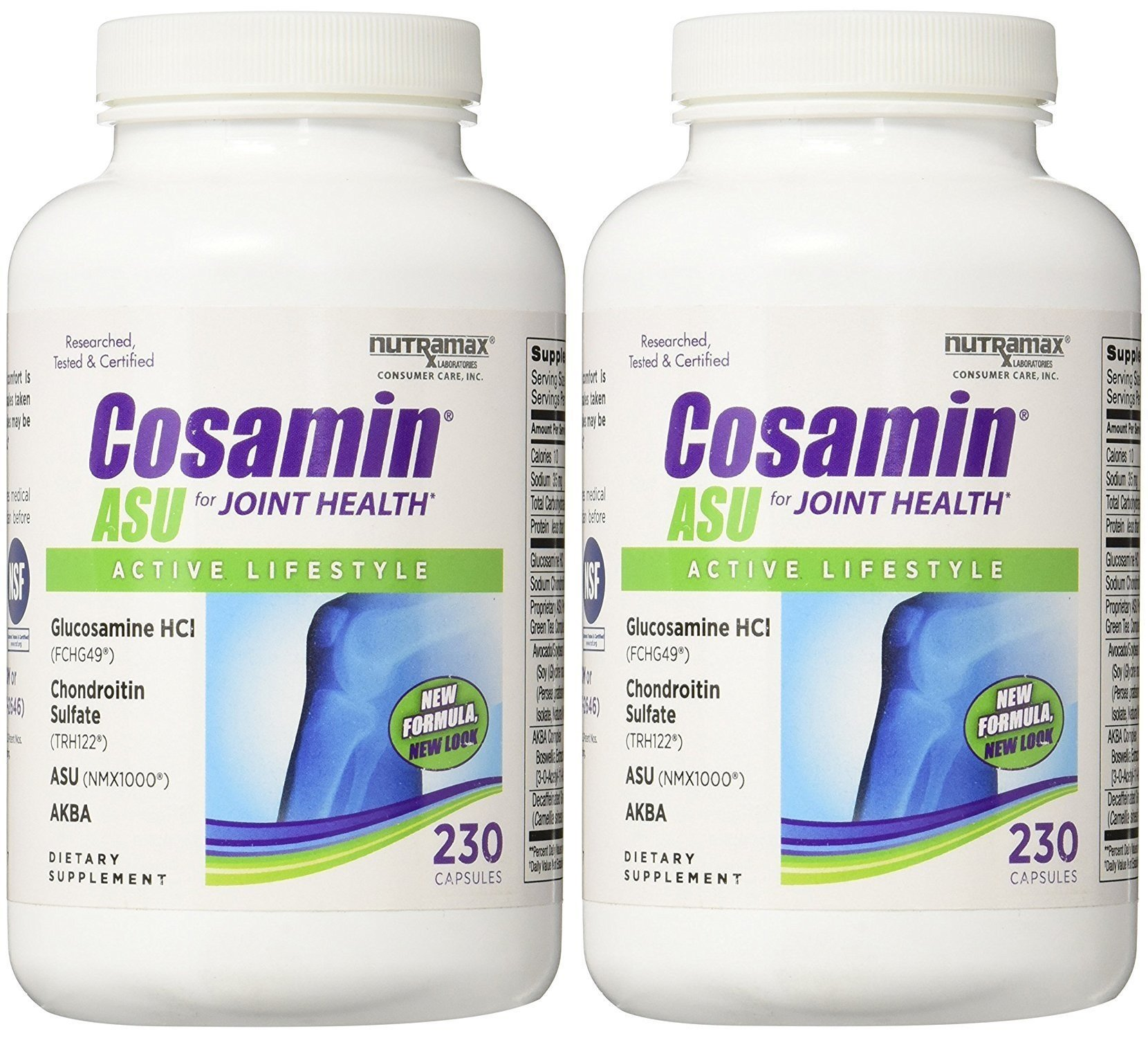 Cosamin ASU Joint Health Active Lifestyle Glucosamine HCl Chondroitin Sulfate AKBA 230 capsules (2...