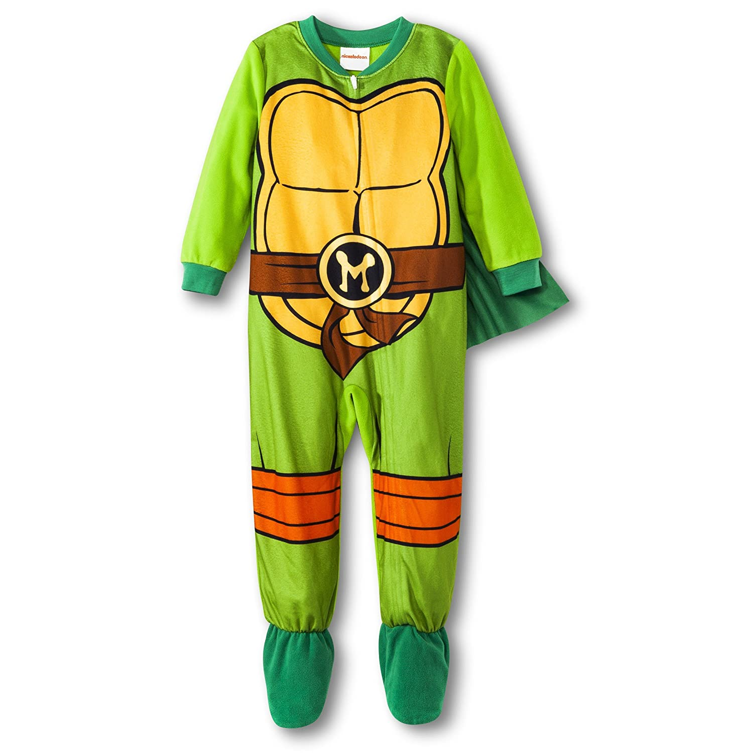 Teenage Mutant Ninja Turtles Little Boy Footed Sleeper Pajama with Cape 5T