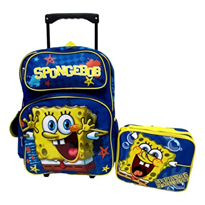 "Sponge Bob Squarepants Nickelodeon Large 16"" Rolling Roller Wheeled Book Bag Backpack & Lunch Box Set!"