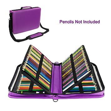 YOUSHARES Estuche 160 ranuras de color lápiz caso tela de Oxford gran capacidad pluma/lápiz organizador con correa para lápices de acuarela, plumas de ...
