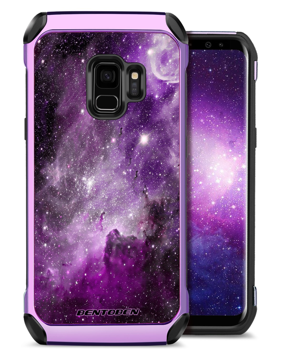 S9 Case, Galaxy S9 Case, Samsung S9 Case Purple, BENTOBEN Samsung Galaxy S9 Cover for Girls Women Slim Thin Fit Dual Layer Hybrid Hard PC Laminated with Palm Leaves Pattern Design Faux Leather Cover Rugged TPU Bumper Shockproof Protective Phone Cases for S